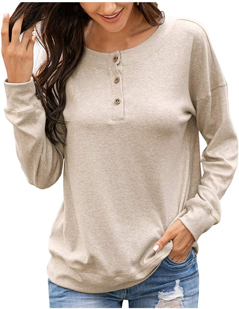 Forthery Women Autumn Long Sleeve Print Long Sleeve O-Neck Casual Teenager Sweatshirts with Button