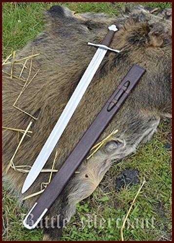 Battle-Merchant Kreuzritterschwert, 13. Jh, Achteckknauf, mit Lederscheide Mittelalter Schwert Echt Metall