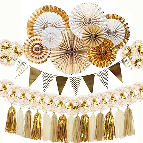 Gold and White Party Decorations 8 Pcs Paper Fan Flowers 20 Pcs Confetti Balloons Pennant Banner 15 pcs Tissue Paper Tassels Birthday Hanging Party Supplies for Wedding Decorations