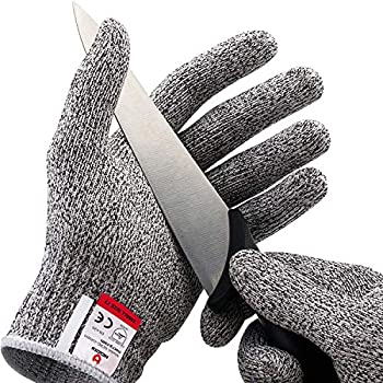 NoCry Cut Resistant Gloves - Ambidextrous Food Grade High Performance Level 5 Protection Size Medium Complimentary Ebook Included