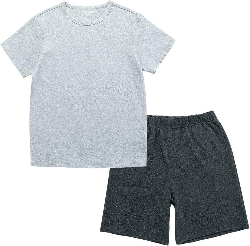 UNACOO Kids Casual Stretchy Tee and Shorts Sleepwear Short Sleeves Pajama Sets for Boys and Girls(Grey tee+Dark Grey Shorts, XL)