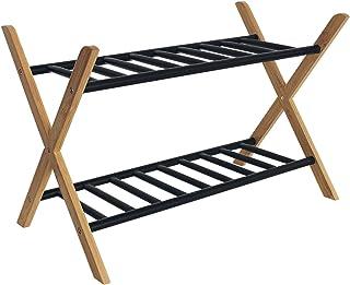 Range chaussures en bambou et métal - 2 étagères ajourées - Naturel / noir - 66x35,5x42cm