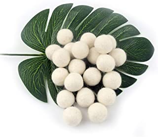 Megrocle White Color Handmade Wool Felt Ball 20pcs DIY Wool Balls 20mm DIY Woven Balls for Needle Felting DIY Christmas Decor Craft Decoration