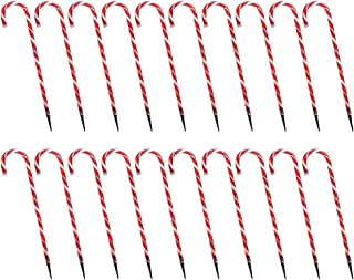 Flameer LED Solar Powered Candy Cane Pathway Markers Outdoor Christmas Party Decor, Pack of 20