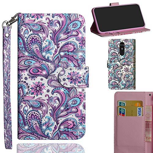 Ooboom LG Stylus 4/LG Stylo 4/LG Q Stylus Hülle 3D Flip PU Leder Schutzhülle Handy Tasche Hülle Cover Ständer mit Kartenfach Trageschlaufe für LG Stylus 4/LG Stylo 4/LG Q Stylus - Pfau Feder