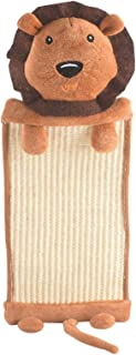 FRIENPET つめとぎシート 麻 猫 爪研ぎ 爪とぎマット Hanging Cat Scratcher, Linen Cat Scratching Mat, Cat Scratch Pad with Cute Animal Shape Doll (Brown_Lion)