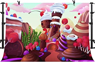 PHMOJEN Sweet Candyland Backdrop Cartoon Lollipops Ice Cream Background for Photography Kids Theme Birthday Party Decoration Backdrop Banner 10x7ft LFPH158