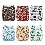 Alva Baby - Pannolini lavabili e riutilizzabili in tessuto, 6 pz, 12 inserti 6DM14-IT