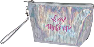 HOYOFO Cosmetic Pouch with Wrist Strap Holographic Makeup Bag Shiny Hologram Handy Clutch Purse, Silver