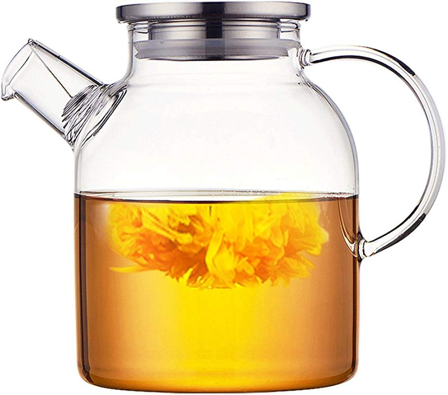 Ceramic Story Glass Water Pitcher With 304 Stainless Steel Lid Large Water Pot Glass Teapot Iced Tea Pitcher Water Carafe Gas Electric Ceramic Stovetop Safe 1 6L