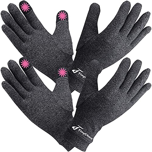 2 Pairs Full Finger Arthritis Gloves,Compression Gloves for Women Men, Hand Gloves Support and...
