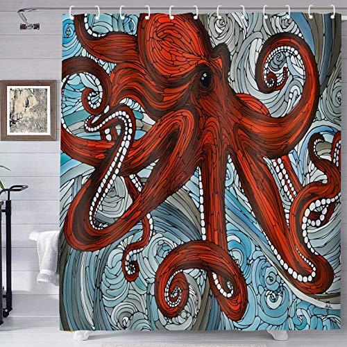 Monster Duschvorhang Badezimmer Marine Tier Dekor Rot Octopus Muster Octopus Horror Tentakel Adsorption Duschvorhang Waschbar Stoffdruck mit Haken Duschvorhang YLLHTE211