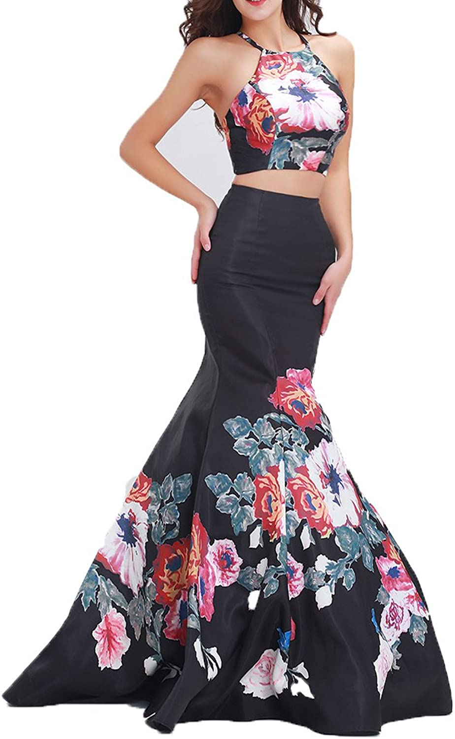 Chenghouse Two Piece Prom Dresses Satin Mermaid Evening Party Gowns