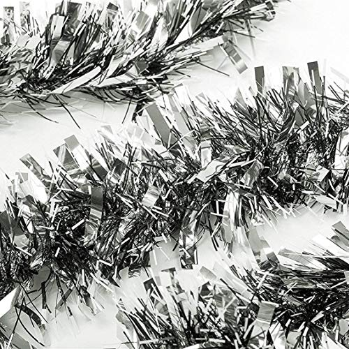 ZB 3 Pcs x 6.6ft Christmas Tinsel Garland, Classic Thick Colorful Reflections Shiny Sparkly Soft Party Hanging Tinsel Ornaments Ceiling Christmas Tree Decorations, 4 inch Wide – Silver