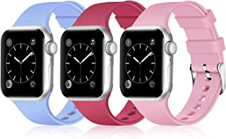 Greatfine Sport Band Compatible for Apple Watch Band 38mm 42mm 40mm 44mm,Soft Silicone Strap Replacement iWatch Bands Compatible with Apple Watch Series 5 4 3 2 1 (Z G-3 Pack E, 38mm/40mm)