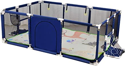 YEHL Playpen Infant Safety Game Fence with Crawling Mat  Indoor  amp  Outdoor Kid s Safety Activity Center  Height 66cm  Color Blue