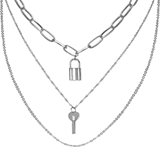 Wovanoo Lock and Key Necklace for Men EBoy Women EGirl Aesthetic Necklaces Multilayer Punk Choker Chain
