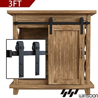 WINSOON 3FT Super Mini Sliding Barn Door Cabinet Hardware Kit for Single Door TV Stands Small Wardrobe Cabinets, J Shape Hanger (NO Cabinet)