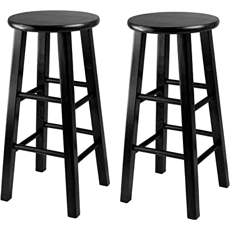 Linon Natural Barstool With Round Seat 24 Inch Furniture Decor