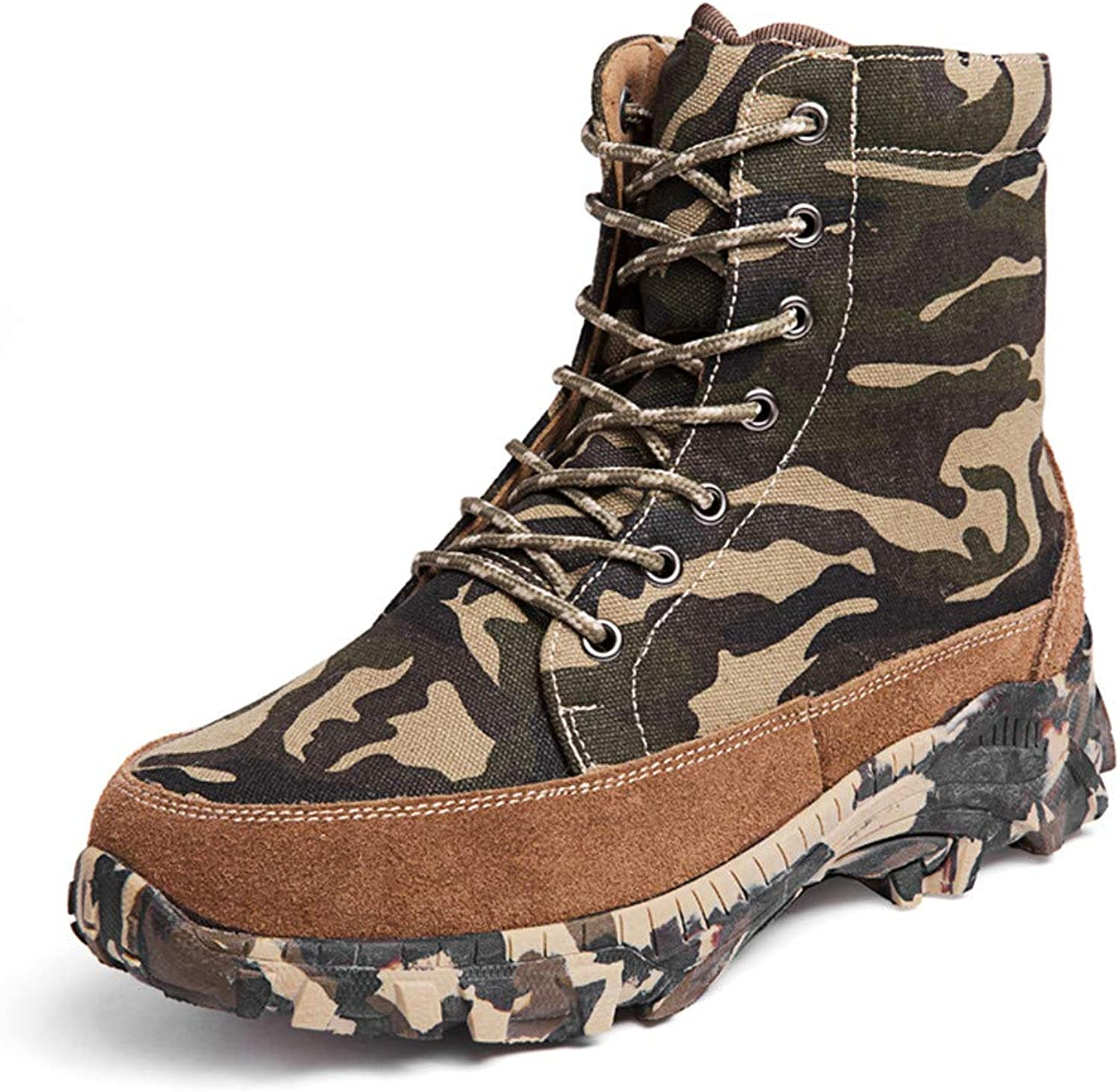 WOJIAO Men's Outdoor Cotton shoes Real Wool High Boots Camouflage Cold Snow Boots Large Size UK 10