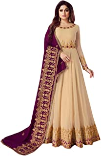 Cream Bollywood Shamita Festive Party wear Real Georgette Anarkali Suit Women Indian Wedding dress Semi-stitch 8538
