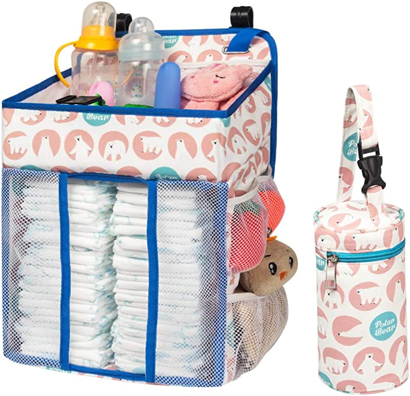Selbor Baby Nursery Organizer And Diaper Caddy Hanging Diaper Stacker Storage For Changing Table Crib Playard Or Wall Baby Shower Gifts For Newborn Boys Girls Polar Bear Bottle Cooler Included