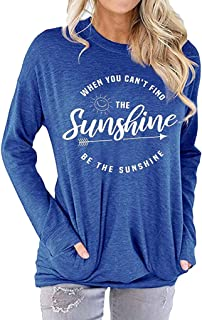 ◆ HebeTop ◆ Casual Letter Print Women T-Shirt 2019 Spring T-Shirts Tops Long Sleeve Shirts with Pocket