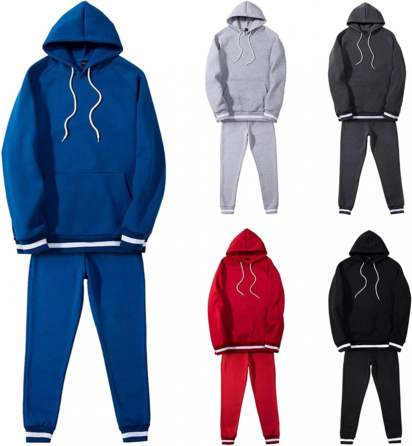 JSPOYOU Mens Athletic Tracksuit Long Sleeve Hooded Sweatshirt and Pants Sweatsuits Running Jogging Athletic Sweat Suits Set