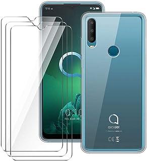 LJSM fodral till Alcatel 3X 2019 + [3 del] skärmskydd med härdat glas – transparent silikon mjukt TPU-skal för Alcatel 3X ...