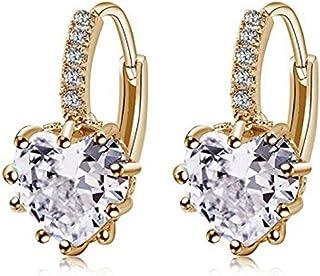 Cn /_ Elegante Diamante Imitacion Hueco Luna Estrella Colgante Dormilonas de