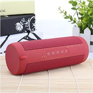 Bluetooth Bass Speaker, Waterproof Portable Outdoor LED Wireless Column Loudspeaker Support TF Card FM Radio Aux Input,Red