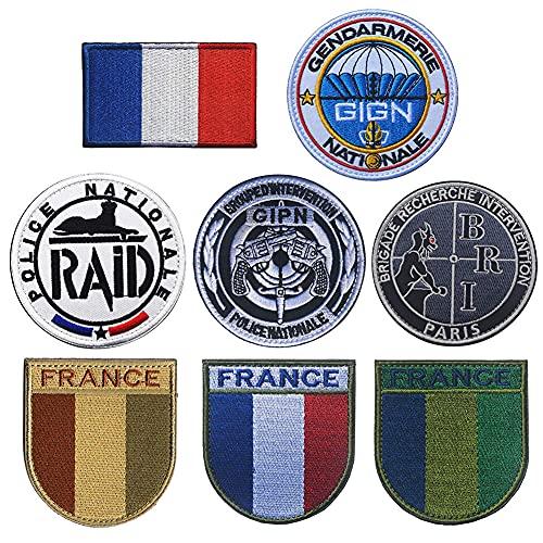 Écusson brodé Drapeau France Tactique Police Militaire GIPN BRI Morale Badges Emblème Applique à coudre sur l'épaule Boucle Crochet Accessoires Brassard