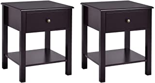 Giantex Nightstand W/Drawer and Shelf, Stable Frame Storage Cabinet for Bedroom, Modern Beside Sofa Accent Table, Brown End Table (2)
