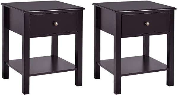 Giantex Nightstand W Drawer And Shelf Stable Frame Storage Cabinet For Bedroom Modern Beside Sofa Accent Table Brown End Table 2