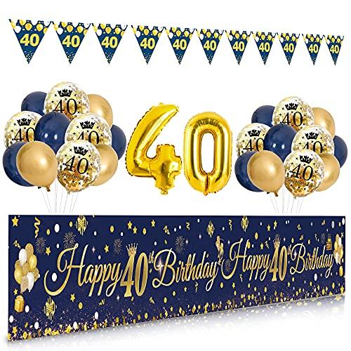 40 anni Decorazioni Compleanno, APERIL Striscione Buon Compleanno Triangolo Bandierine Ghirlanda Blu Oro Coriandoli Palloncini Addobbi, Sfondo Fotografico Compleanno, Uomini e Donne Decorazioni Feste