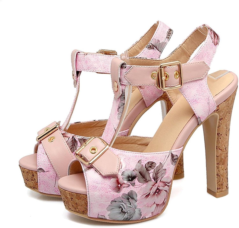Women's High Heels Sandals Kaitzen Fashion Shiny Flowers Belt Buckle Ankle Platform Pump Court shoes Evening Party