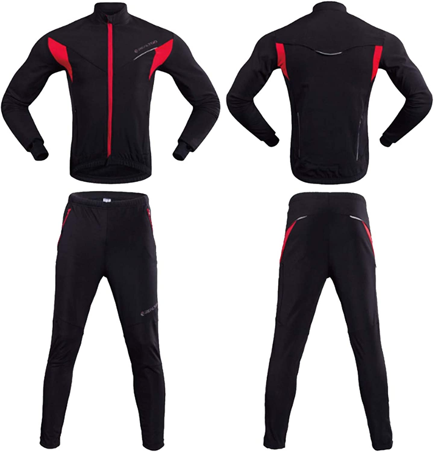 ArryJing Men's Cycling Clothing Winter Thermal Fleece Long Sleeve Jersey Jacket + 3D Padded Pants Trousers