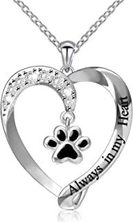 ACJNA 925 Sterling Silver Pet Paw Print Puppy Dog Love Heart Pendant Necklace Jewelry for Girls Women