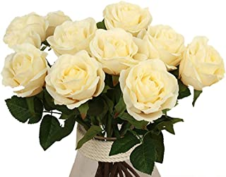 Elome Artificial Flowers, Real Touch Silk Pu Flowers Rose Home Decorations for Bridal Wedding Bouquet, Birthday Flowers Bunch Hotel Party Garden Floral Decor Champagne Color