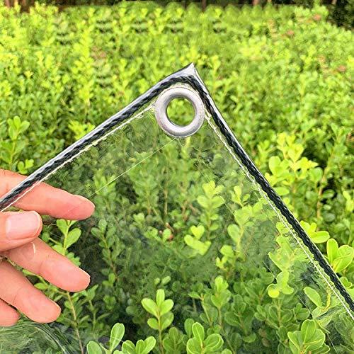 Transparente wasserdichte Abdeckplane, wasserdichte PVC-Kunststoffplane mit Ösen, transparente Pflanzenplane, wasserdichte transparente Abdeckplane (0,3 mm/365 g/m²)