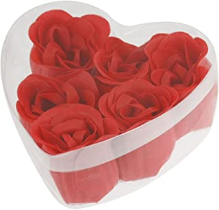 TOOGOO(R) 6 Pcs Red Scented Bath Soap Rose Petal in Heart Shape Box