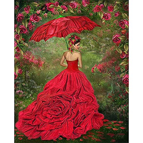 JUNLI 5D DIY Diamond Painting Kits Art Full Drill,Beautiful Woman In Rose Bushes, for Adult and Kids, Cross Stitch Kits Home Decoration.(11.8 * 15.8 Inch)
