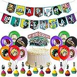 My Hero Academia Globos, My Hero Academia Fiesta Temática Decoracion Feliz Cumpleaños Banner Globo Adornos para Tartas para Niños Ducha de Bebé Fiesta de Cumpleaños