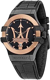 ساعة بوتينزا R8851108032 عصرية بسوار من الجلد الاسود وحركة كوارتز للرجال من مازيراتي