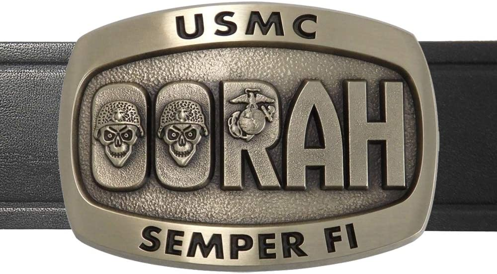 Indiana Metal Dealing full price favorite reduction Craft USMC Oorah Solid Made Brass Belt and Buckle