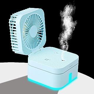 Keep Better Mini humidificador de ventilador, ventilador humidificador recargable por USB, combo de ventilador humidificador para pequeños escritorios y ventiladores del hogar (azul)