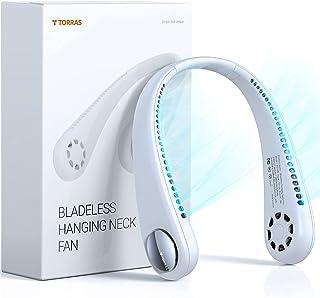 TORRAS Bladeless Necklace Fan, 360° Cooling Hanging Neck Fan, Hands Free Neck Fan, Rechargeable Mini USB Personal Fan, Hea...