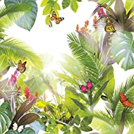 All over tropical leaf design High gloss highlights Paper substrate Roll size: 53cm x 10.05m Pattern match: Off set @26cm - Pattern repeat: 53cm
