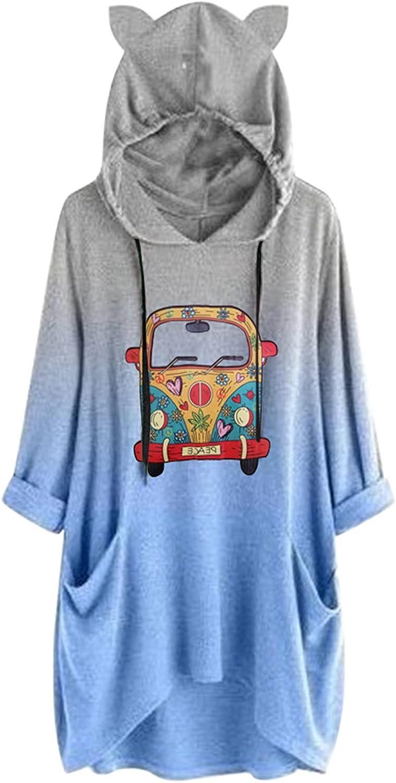 Xinantime Women's Christmas Print Sweatshirt Color Block Half Sleeve Tops Ladies Pullover Oversized Irregular Hem Blouse