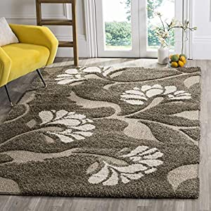 Safavieh Florida Shag Collection SG459 Floral 1.2-inch Thick Area Rug, 4′ x 6′, Smoke / Beige